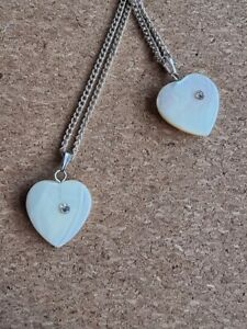 Mother of Pearl Heart Pendant Necklace Reiki Crystal Healing  Silver Chain NEW