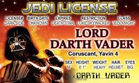 Darth Vader of STAR WARS novelty collectors card Drivers License