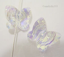 6x SWAROVSKI 5754 CLEAR CRYSTAL AB BUTTERFLY CRYSTAL SPACER BEAD 10mm