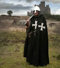 """MEDIEVAL KNIGHT CRUSADER Middle Ages HOSPITALLER CLOAK CAPE with HOOD 54"""" New"""