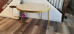Vintage meco Round Folding Table MCM rose gold vinyl top BOX included.