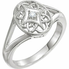 Size 6 Sterling Silver and Diamond Accent Filigree Vintage Style Ring