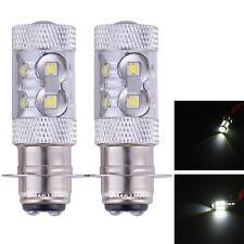 2 x BA20D H6 50W LED Xenon White Light Bulb MOTO ATV BIKE Motorcycle Headlamp