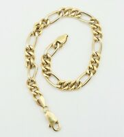 18K Y&W Two Tone Gold Hollow Figaro Link Chain Bracelet 8 Inch 6.6mm 10.2g S217