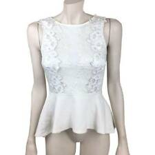 Womens Bebe XS Eggshell White Sleeveless Peplum Top Keyhole Mesh