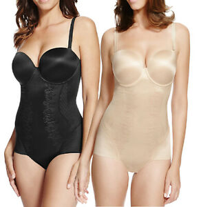 M&S Natural, Black Padded & Wired Firm Control Strapless Shapewear Body (110603)