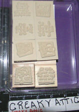 STAMPIN UP QUICK AND CUTE 8 RUBBER STAMPS CAKE FLOWERS MOON