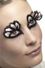 Faux Cils Plumes Brun et Blanc BRUN/BLANC + colle maquillage deguisement oiseau