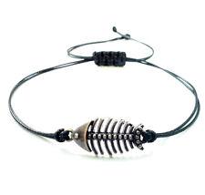 Men Women Bracelet Unisex Charm Fish Skeleton Black Cord Adjustable cuff gift