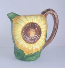 "EXCEPTIONAL, HAND PAINTED BASSANO LARGE TABLE  PITCHER, ""SUNFLOWER"" ITALY"