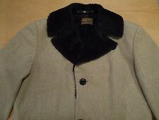 Vintage Sir Pendleton Tan Wool Coat Faux Fur Collar Knot Buttons Mens Large