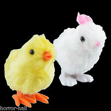 Easter Basket Fuzzy HOPPING BUNNY-CHICK WIND UP TOYS Jumping Party Favor-2pc SET