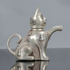 Old Chinese Tibet Silver Handwork Cat Shaped Teapot W Xuande Mark C541