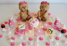 Teddy Bears Picnic BIRTHDAY CAKE TOPPERS Edible Sugar Decorations FLOWERS & BEES
