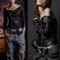 Women Off Shoulder PU Leather Buckle Zipper Jacket Punk Moto Biker Slim Fit Coat