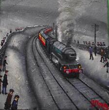 Original BEST Oil Painting Noted Artist James Downie : Sunday Steam Special