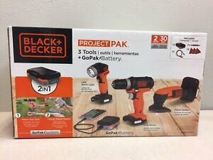 Black and Decker BDCK503C1  GoPak Cordless Combo Kit-Drill, Light & Sander