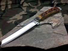 "Marbles Fixed Knife 10"" Full Tang Bone Tanto Hunter w/ Leather Sheath 241"