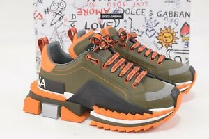 Dolce&Gabbana NWB Sneakers Size 42 9 US In Green & Orange & White Chunky