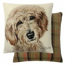 FILLED EVANS LICHFIELD LABRADOODLE DOG REVERSIBLE TARTAN COTTON CUSHION 17""