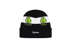 Supreme F*CK YOU PAY ME Beanie Black FW19 Rare Limited Sold Out Black White Gold