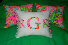 SALE! NEW Monogram pillow made with LILLY PULITZER Multi Lulu fabric