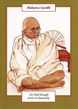 GREETING CARD spiritual art MAHATMA GANDHI Saints and Sages gold border elegant