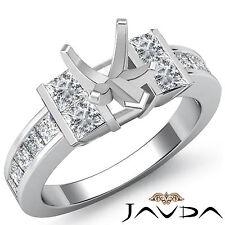 Princess Side Diamond Engagement women's Ring Platinum 1Ct Heart Cut Semi Mount
