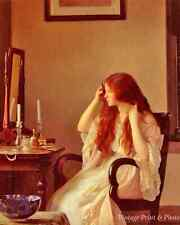 Girl Combing Her Hair by W Paxton -Art Boudoir Mirror Candles  8x10 Print 0426