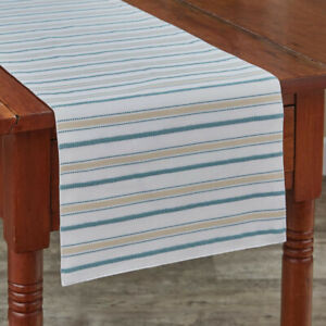 Serene Yellow Green Blue Stripe Cotton Country Cottage Table Runner