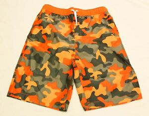Lands' End Boy's Camouflage Basic Fit Swimtrunks NB7 Multicolor Size 14-16 NWT