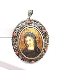 Vintage 800 Coin Silver Filigree Coral Hand Painted Virgin Mary Pendant Brooch