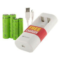 GP charger NiMh rechargeable 2 AA 1000 & 2 AAA 400 mAh batteries USB connector