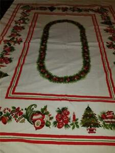 Vintage 58X72 Cotton Christmas Icon Tablecloth Ornaments Tree Pine Cones Bells