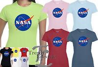 NASA SPACE LOGO PRINT ASTRONAUT TRENDY GEEK LADIES SLIM FIT SOFT GILDAN T-SHIRT