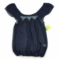 NEW Willow & Clay Sheer Blouse Size SMALL Womens Navy Blue Boho Peasant Top S
