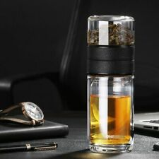 Portable Double Wall Glass Material With Tea Infuser Bottles Filter Travel Cups