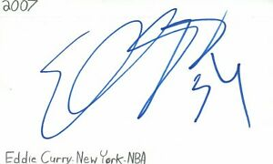 Eddy Curry New York Knicks NBA Basketball Autographed Signed Index Card