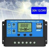 10-30A Solar Panel Battery Charge Controller 12V 24V Dual Regulator LCD USB