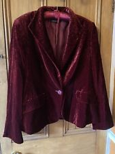 Blood Red Baroque Pattern Womans Velvet Feel Jacket Goth/Hippy/Boho Size 12