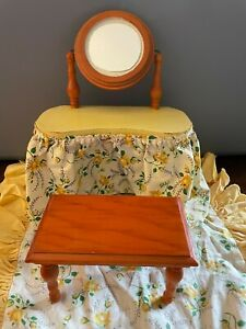 Vintage Wooden Doll Make-up Table w/ Bench & Bed Linens