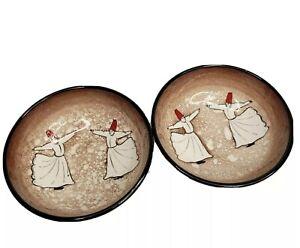 Turkish Whirling Dervish Dancing Hand Painted Bowls Turkey Nut Fruit Bowls