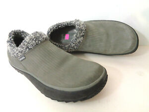 SIMPLE Brand 2058 Slip On Gray Leather Mocs with Wool Collar Mens US 11M EU 44.5