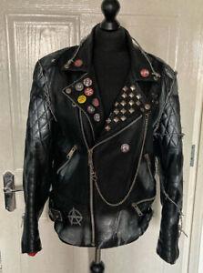 Vintage Reworked Leather Biker Jacket Punk Rock Metal Anarchy