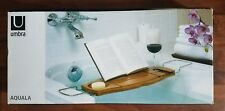 NIB - Umbra Aquala Bathtub Caddy Tray /Table Organizer Shower Bamboo Book/Wine