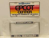 EPCOT DISNEYLAND 30th ANNIVERSARY LICENSE PLATE + METAL FRAME 1985 Disney UNused