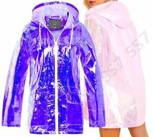 Womens Holographic Rain Mac Waterproof Raincoat lilac Jacket Plus Size 18 - 24