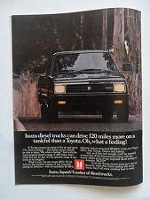 1982 Print Ad Isuzu Japanese Diesel Truck 4x4 ~ 120 Miles More Than a Toyota