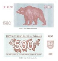 Lithuania 500 Talonas 1992 P-44 Banknotes UNC