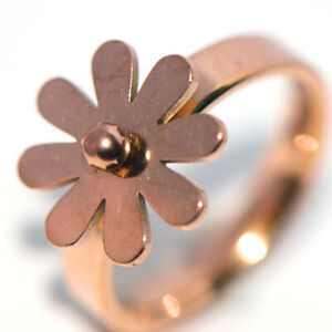 Lovely rose gold daisy flower rings for womens girls fashion jewelry size 8